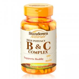 Sundown 日落恩賜 高單位緩釋型B群+C-B12強化配方(100錠/瓶)